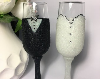 Glitter Champagne Glass - Wedding Bride and Groom
