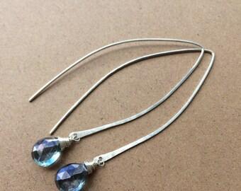 Blue-Green Mystic Quartz Briolettes on Leaf Shaped Ear Wires