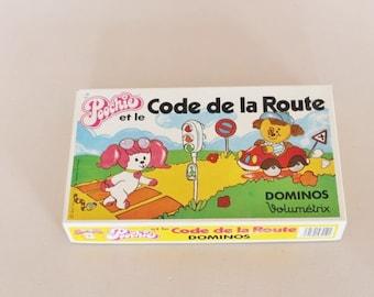 Poochie dominoes, Volumetrix dominoes, Poochie and highway code, vintage game, poochie, vintage dominoes