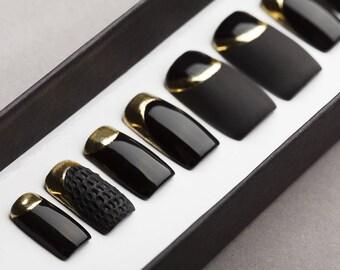 Black Mattee and Gloss Press on Nails with Gold and Texture | Nail Art | Fake Nails | False Nails | Glue On Nails | Acrylic Nails