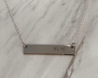 Hand Stamped Bar Necklace- Sterling Silver Custom