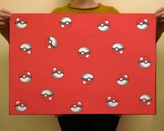 Pokeball Pokemon Premium Wrapping Paper 50 x 70cm Free Shipping UK Birthday Gift Wrap Japan Funny Anime