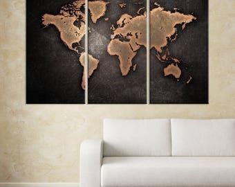 World Map Art Print, Large World Map, World Map Canvas, Large World Map, World Map Wall Art, World Map Wall Art Canvas Print, 3 Panel Map