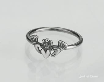 Sterling Silver Heart in Hands Ring .925 Claddagh Ring Custom Sizes