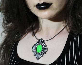 Cyberpunk, Green Diamond Pendant