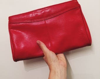 Vintage Bueno Red Clutch with Strap, Retro 1980's faux snakeskin purse,Women's Vintage Accessories, Women's Purses