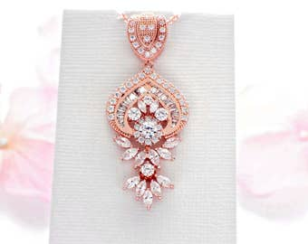 Cubic zirconia necklace, Rose Gold wedding jewelry, crystal wedding necklace, bridal jewelry, bridal crystal necklace, CZ jewelry