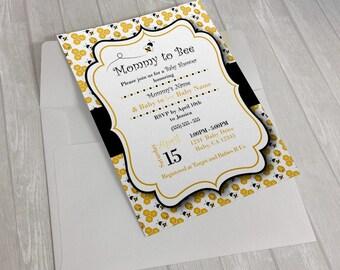 Bee Baby Shower Invitation 5x7 or 4x6, Digital, Printable File