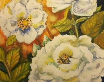 White Roses, archival watercolor print, sympathy, condolance gift, birthday gift, love, valentines Day, birthday gift, blueheronartstudio