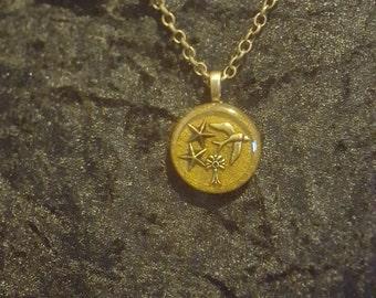 Bronze Bird in Resin Necklace