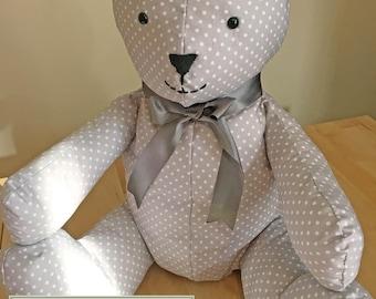 Handmade Grey Teddy Bear - Room Decoration - Easter Gift - Baby shower Gift - Birthday Gift - Homeware