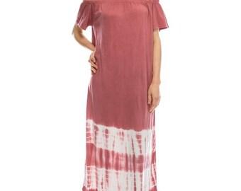Off Shoulder Tie Dye Maxi Dress - Rust