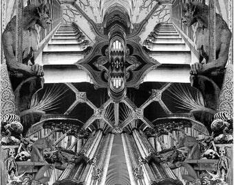 Print. 'Ninth Horizon'. Gothic Architecture Collage