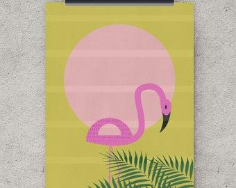 Flamingo art print, Wall Art decor, Tropical Bird, Tropical Wall Art, Yellow print, Large Poster, Digital Download, Flamingo print,Printable
