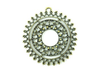 10pcs Round Filigree Brass Findings 40mm