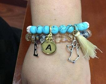 Initial charm beaded bracelet