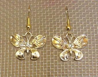 Butterfly, gold color dangle earrings
