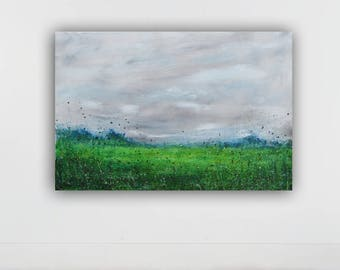 large abstract painting, original abstract painting , large wall art, flower painting,gray, green, acrylic on canvas, 32x48 inches,