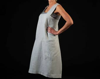 Japanese apron / Linen pinafore dress / Elegant linen apron  / silver gray