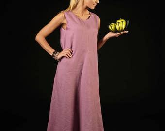 Long linen dress / Elegant dress / Casual linen dress / loose fit dress / lilac