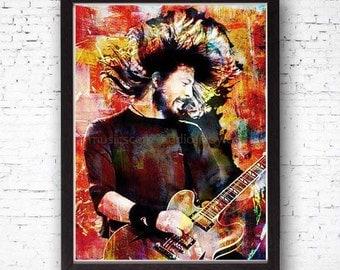 Guitar Print, Guitar Player Gift, Original Guitar Watercolor Illustration