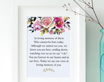 Loving Memory Sign, Wedding Memory Table Sign, 2 Sizes, Memorial Sign, Rememberance Sign, Printable Decor, Instant Download, Digital File