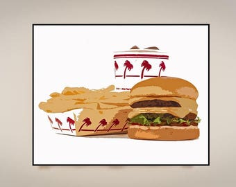 In n Out Burger, Print or Canvas, Fast Food Retro Poster, Hamburger Fries Wall Art, Kitchen Decor, Retro Kitchen, Diner Picture, Milkshake