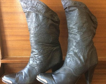 Zodiac Boots Black Leather 1980s Size 8