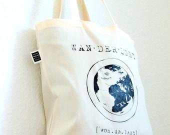 """Jute bag, tote bag """"Wanderlust"""" - organic cotton/fair trade"""
