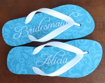 Bridesmaid Flip Flops - Personalized Flip Flops for Bridesmaid or Maid of Honor(print design as pictured)