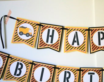 Construction Birthday Banner - Dumptruck Birthday Decorations Fully Assembled - Construction Birthday Party Banner