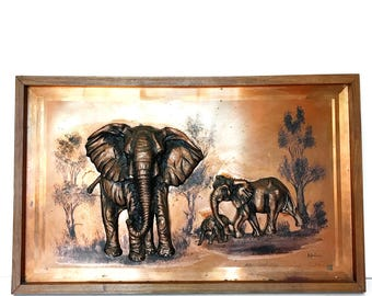 Vintage Copper Elephant Wall Hanging Decor