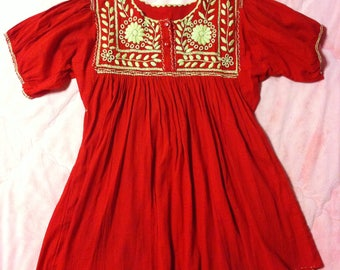Red Hand Embroidered Mexican Dress / Red Mexican Tunic Dress