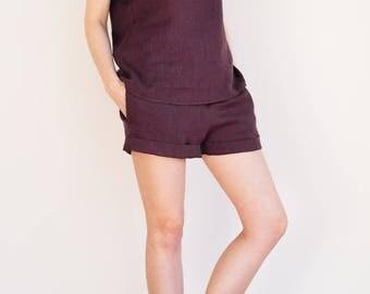 Maroon linen pajama set / Maroon linen sleepwear set / Linen pyjamas