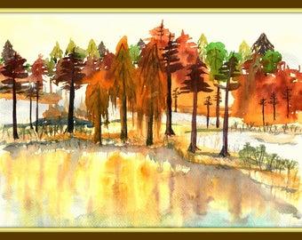 "Picrure "" Autumn"" 11.6*13.7 in. Water color, still life, design"