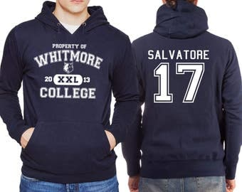 Property Of Whitmore College Hoodie Salvatore 17 Vampire Diaries Hooded Jumper