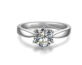 1 carat solitaire diamond ring,moissanite engagement ring solitaire,Unique Engagement Ring Vintage Engagement Ring Diamond Engagement ring