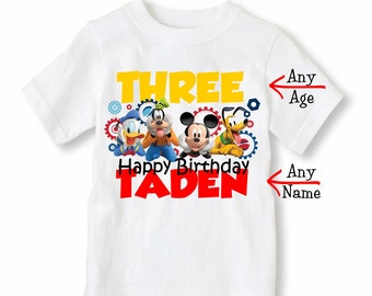Mickey Mouse Shirt - Mickey Birthday Shirt - Mickey Shirt Personalized With Name and Age