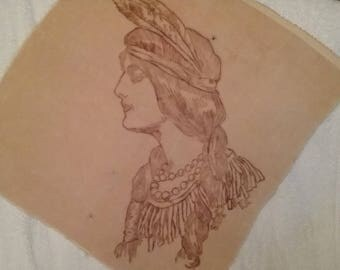 Native American Drawing on Velvet like fabric.