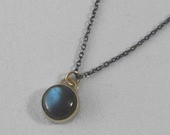 14k Gold and Labradorite Cabochon Stormy Necklace * Bezel Set Labradorite on an Oxidized Sterling Silver Chain * Dark Stormy Moody