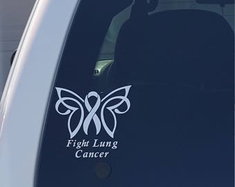 Fight Lung Cancer Decal, Lung Cancer, Ribbon, white ribbon, butterfly, Car Decal, Vinyl Decal, Car Decal, Car Sticker