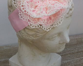 pink lace and ribbon flower headband , elasticated for extra stretch,weddings, christenings,photoprops,occasions