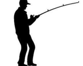 Standing fishermen decal
