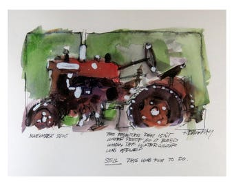 Farm Tractor Watercolour Item 0001