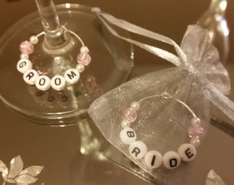 Wedding Gift Bride & Groom. Wine Glass Charms for Bride, Groom, Mr and Mrs - Set of 2, any Combination or Any Name, Ideal Gift