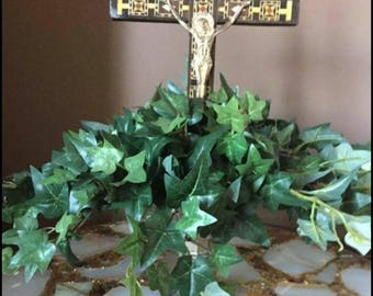 Customizable Ivy Centerpiece with Mosiac Mother of Pearl Cross faux Mercury Glass Pedestal Bowl