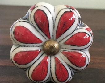 Ceramic Red Flower Knob / Ceramic Cabinet Knob / Drawer Pull / DIY / Red Knob / dresser knob / drawer knob