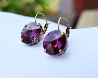 Swarovski Amethyst Crystal Leverback Earrings - 14mm, Amethyst Earrings, 14mm Earrings, Leverback Earrings, Swarovski Crystal Earrings