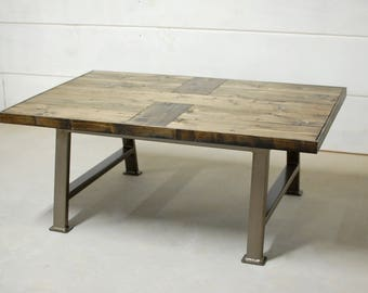 Square Coffee Table, Industrial Coffee Table, Rustic Home Decor, Farmhouse Coffee Table, Wood Furniture, Reclaimed Wood Table - FREE Ship