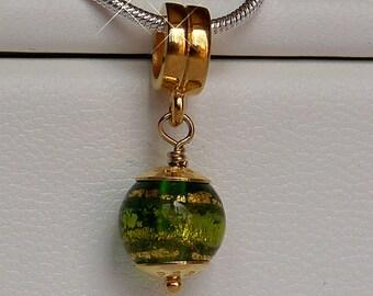 PerlaVita Green, Emerald and Exterior Gold Foil Murano Glass Bead Charm, Vermeil - Pandora Compatible